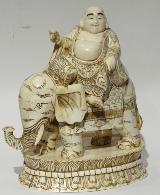 """""""Hotei on the elephant."""" Bone. China - photo 1"""