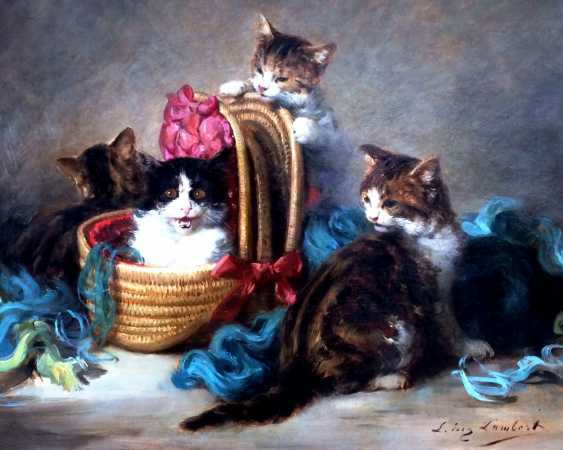 "The picture ""Funny cats"". Louis Eugène Lambert (1825 -1900 ). - photo 1"