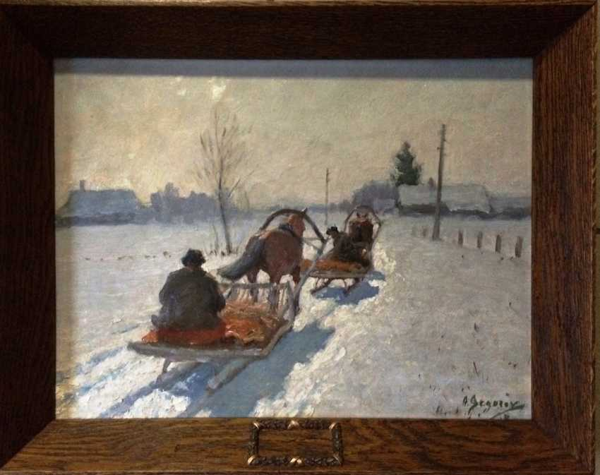 "The Painting ""Winter. Night is falling"". Egorov A. A. the Beginning of XX century.. - photo 2"