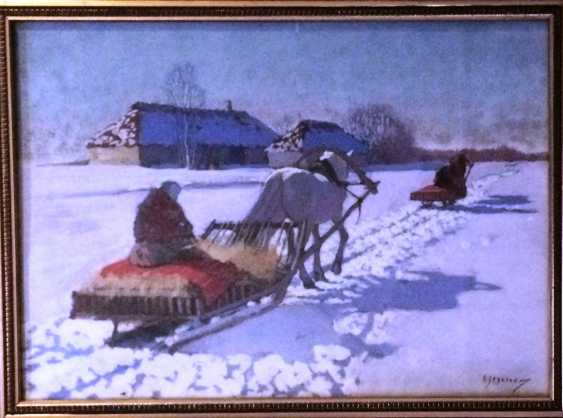 """Pair of paintings """"the Sleigh."""" Egorov A. A. the Beginning of XX century - photo 3"""