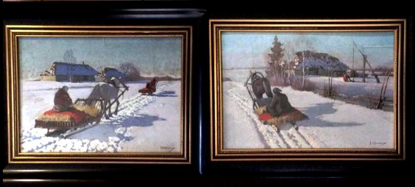 """Pair of paintings """"the Sleigh."""" Egorov A. A. the Beginning of XX century - photo 1"""