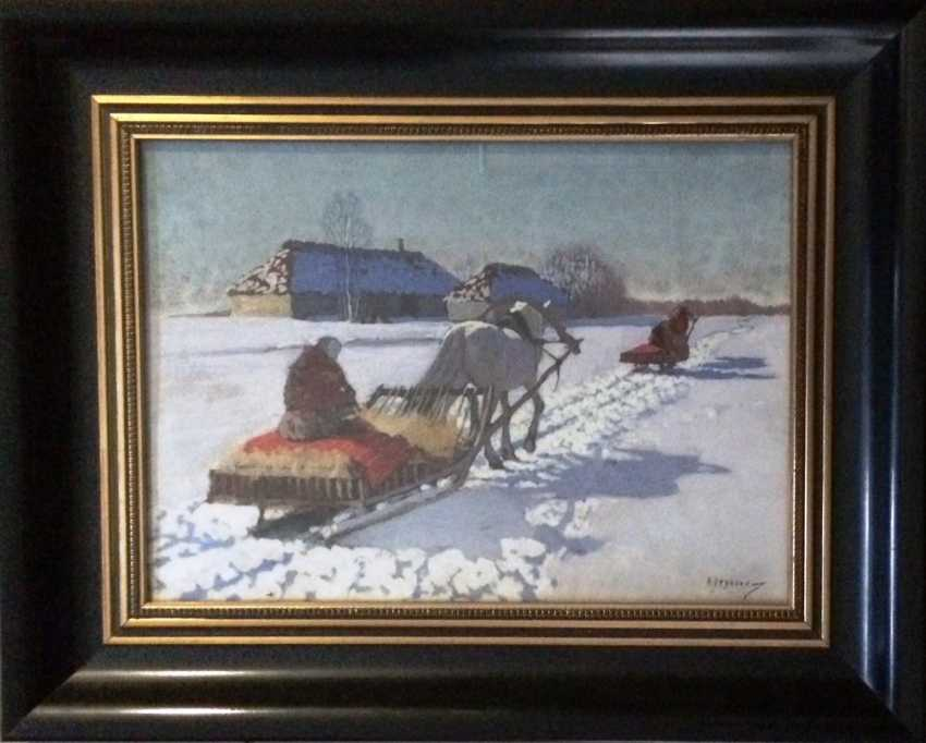 """Pair of paintings """"the Sleigh."""" Egorov A. A. the Beginning of XX century - photo 2"""
