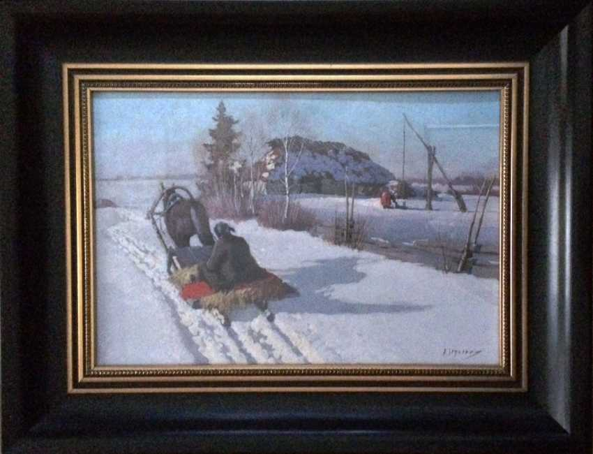 """Pair of paintings """"the Sleigh."""" Egorov A. A. the Beginning of XX century - photo 4"""