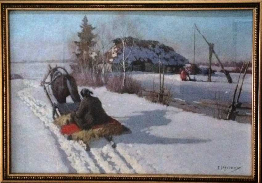 """Pair of paintings """"the Sleigh."""" Egorov A. A. the Beginning of XX century - photo 5"""