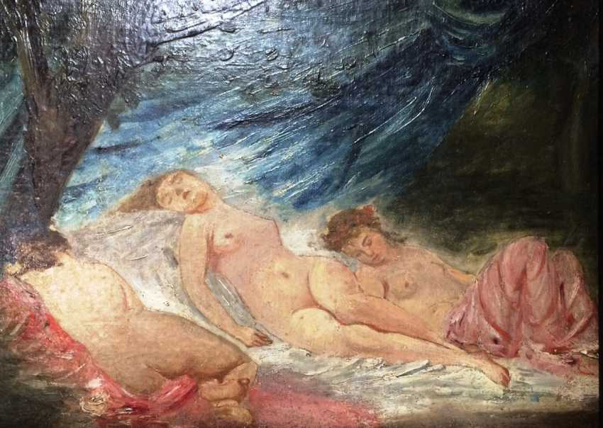 """The painting """"the Three graces"""". C. Chaplin (1825-1891). France. The expert opinion. - photo 1"""