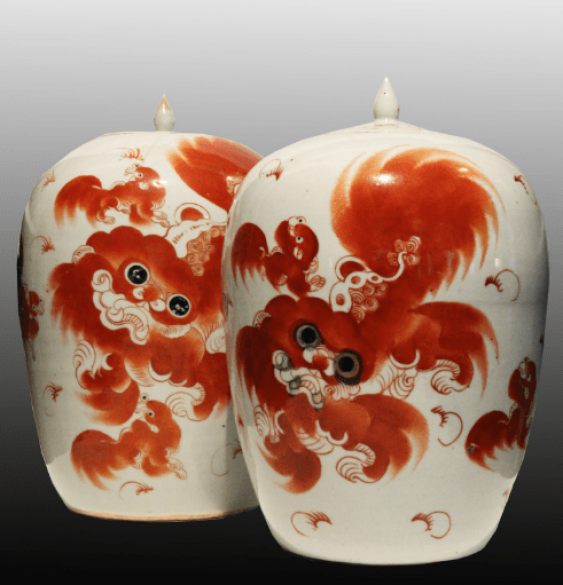 Paired vases with dogs of Fo - photo 1