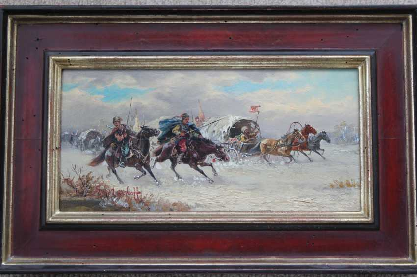 "Pair of paintings ""Battle on horses"". Author: Smolnikov. 1925. - photo 2"