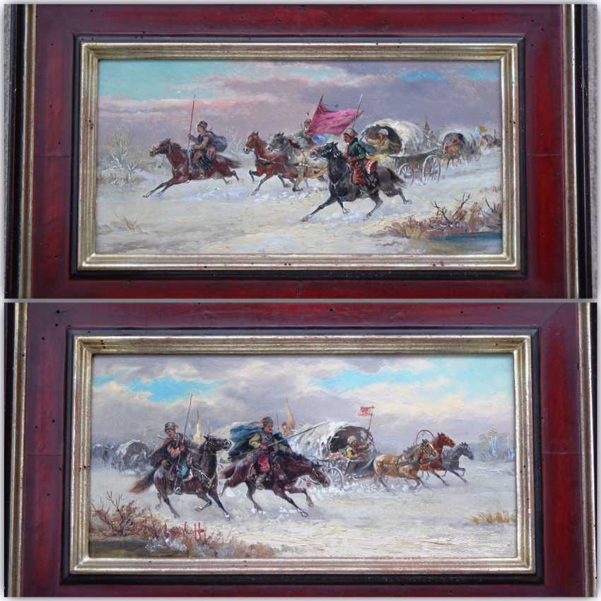 "Pair of paintings ""Battle on horses"". Author: Smolnikov. 1925. - photo 1"