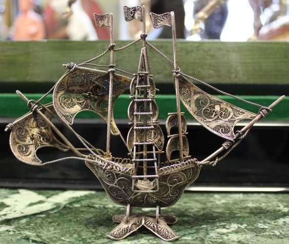 Silver boat, made in the technique of openwork filigree (filigree), beg. of XX century. - photo 2