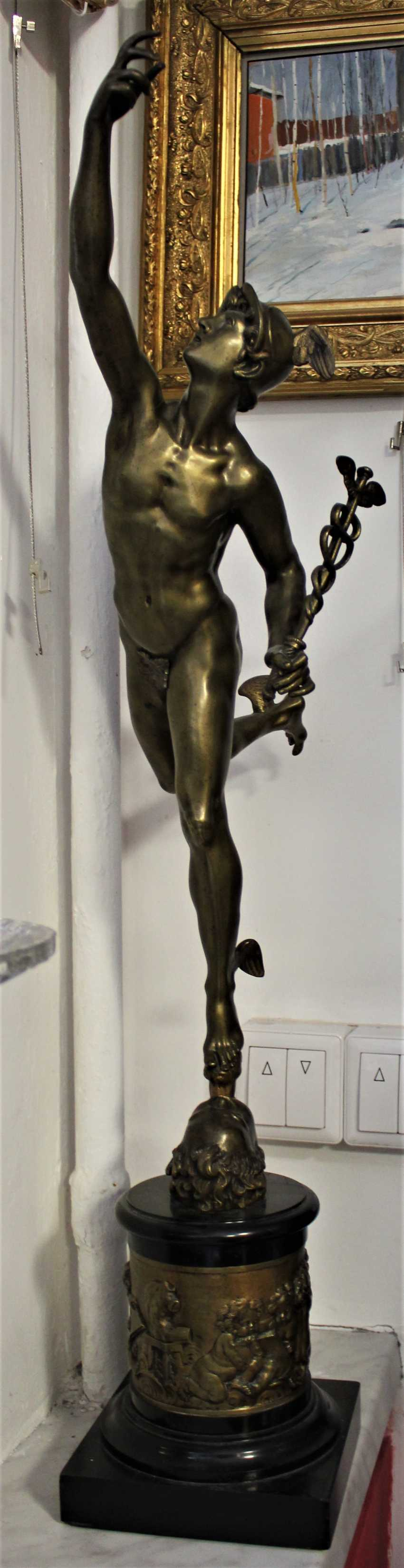 """The statuette """"swift-Footed mercury (the patron God of trade)"""", XIX century - photo 2"""