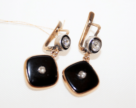 Earrings with agate and diamonds - photo 1