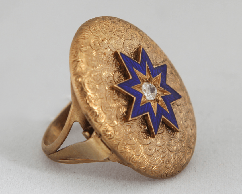 Ring with diamond and enamel - photo 1