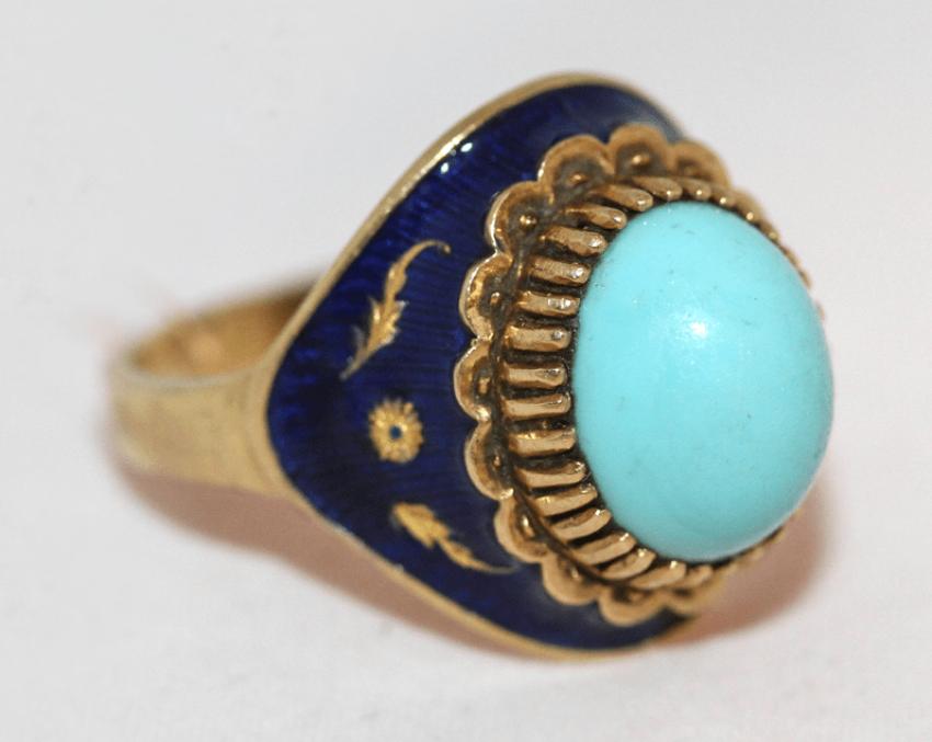 Кольцо с бирюзой и эмалью - фото 1