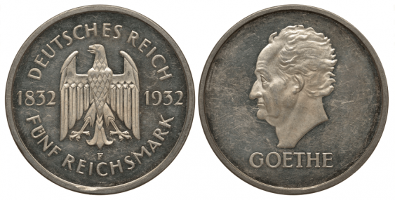 GERMANY 5 MARK 1932 F - JOHANN WOLFGANG GOETHE - photo 1