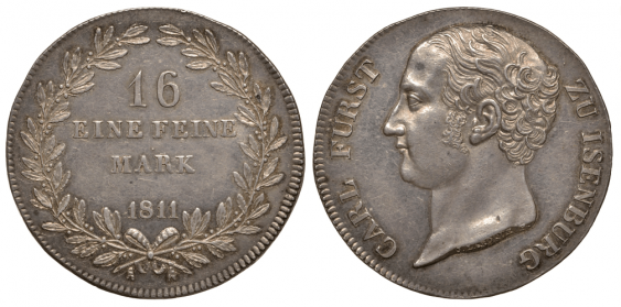 ISENBURG 1 THALER (16 MARKS) 1811 CARL FRIEDRICH - photo 1