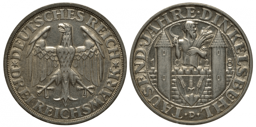 GERMANY 3 MARKS 1928 D - 1000 ANNIVERSARY - photo 1
