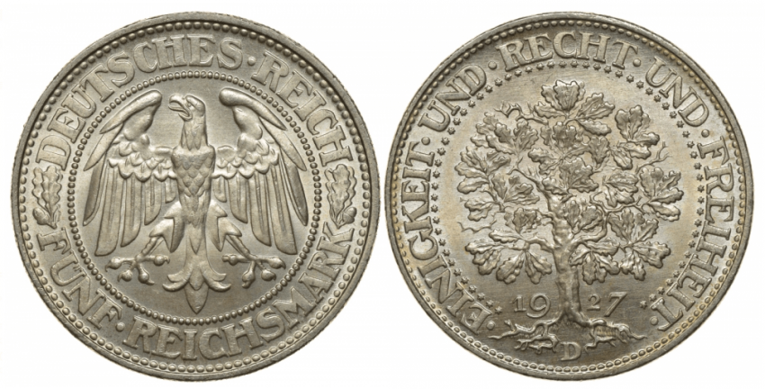 GERMANY 5 MARKS 1927 D - photo 1