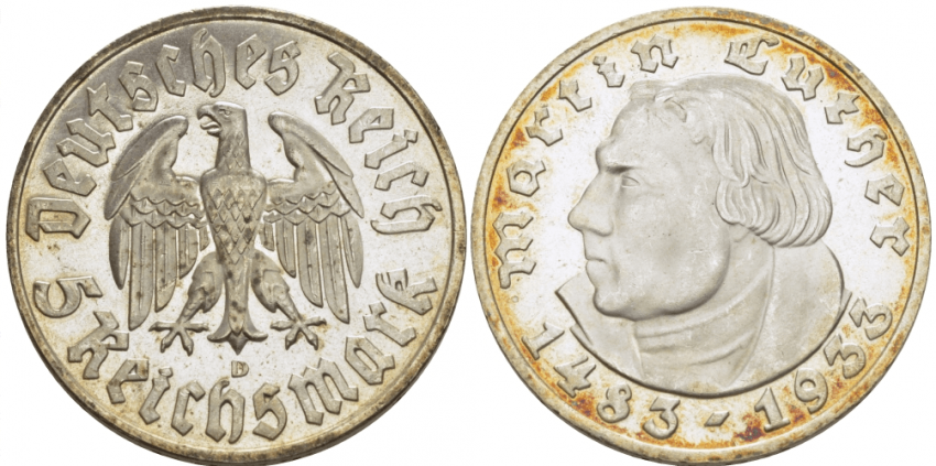 GERMANY 5 REICHSMARK 1933 D - photo 1