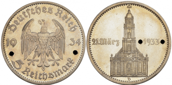 GERMANY 5 REICHSMARK 1934 D - photo 1
