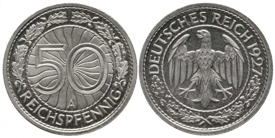 GERMANY 50 REICHSPFENNIG 1927 AND - photo 1