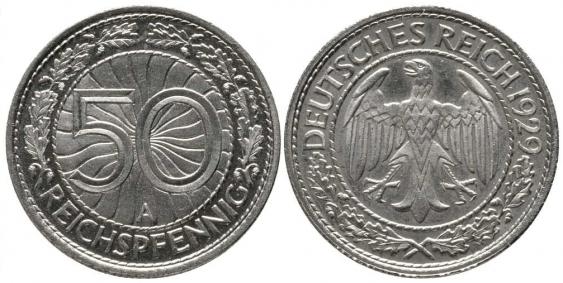 GERMANY 50 REICHSPFENNIG 1929 AND - photo 1