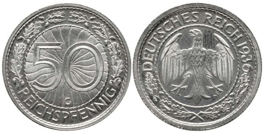 GERMANY 50 REICHSPFENNIG 1936 G - photo 1