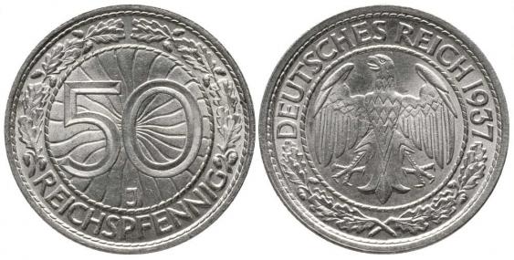 GERMANY 50 REICHSPFENNIG 1937 J - photo 1