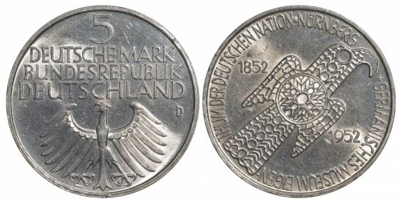 GERMANY 5 MARK 1952 GERMANISCHES MUSEUM - photo 1