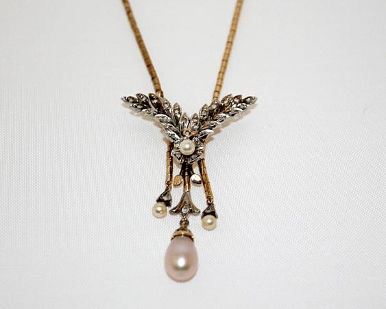 Anhänger mit Diamanten und Perlen - Foto 1