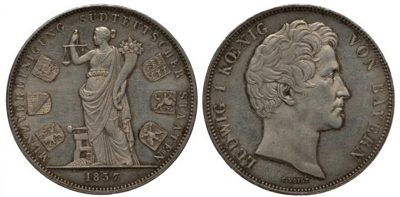BAVARIA 2 THALER COIN 1837 UNION SIX - photo 1