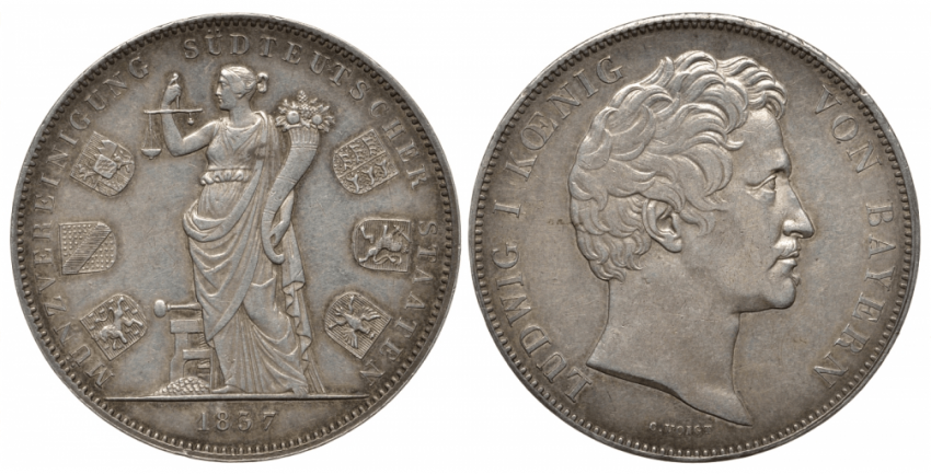 BAVARIA 2 THALER COIN 1837 UNION SIX - photo 1