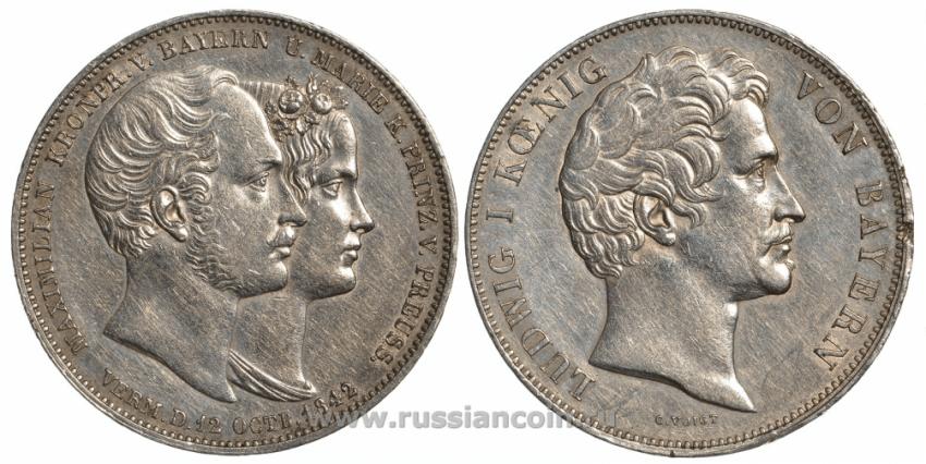 BAVARIA 1842 2 THALER LUDWIG I, - photo 1