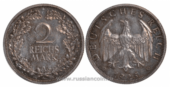 GERMANY 2 REICHSMARK 1925 A - photo 1