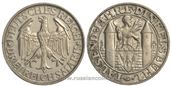 GERMANY 3 MARKS 1928 D - photo 1