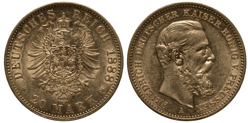 PRUSSIA 20 MARKS 1888 FRIEDRICH III - photo 1