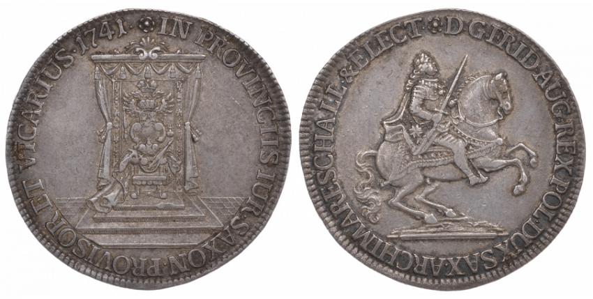 SAXONY, 1/2 THALER 1741 FRIEDRICH AUGUST II. - photo 1