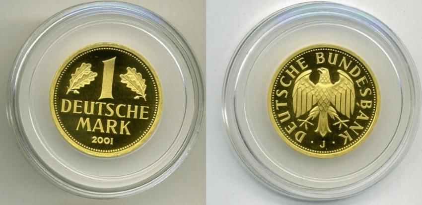 Germany 1 MARK 2001 J KM 203 gold - photo 1