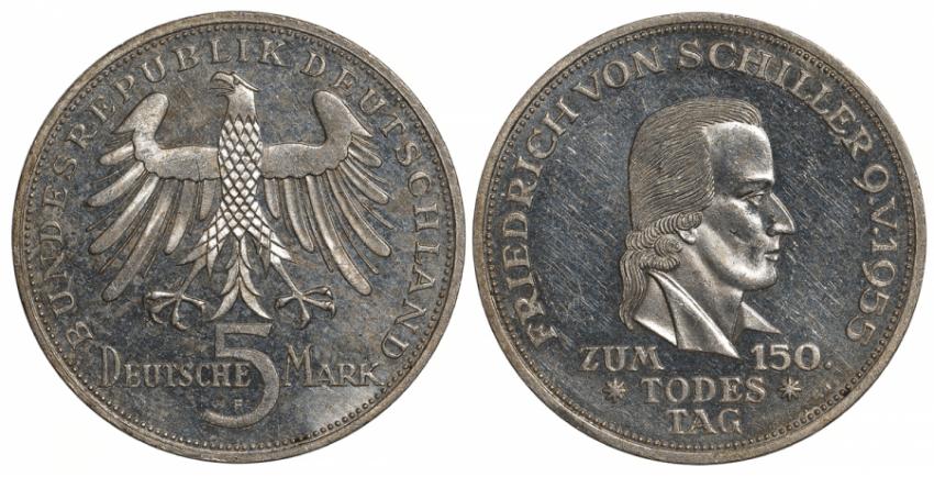 GERMANY 5 MARK 1955 FRIEDRICH SCHILLER - photo 1
