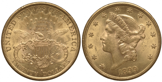 USA 20 DOLLARS 1899 S LIBERTY HEAD IN THE CROWN - photo 1