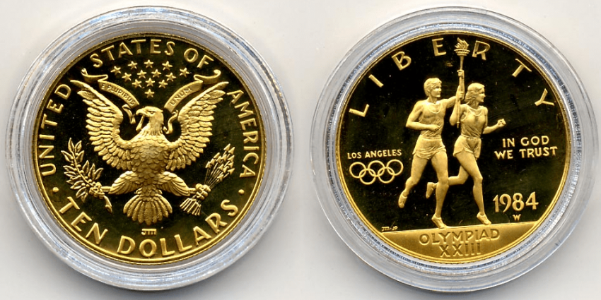 USA 10 DOLLARS 1984 W, XXIII OLYMPIC GAMES - photo 1