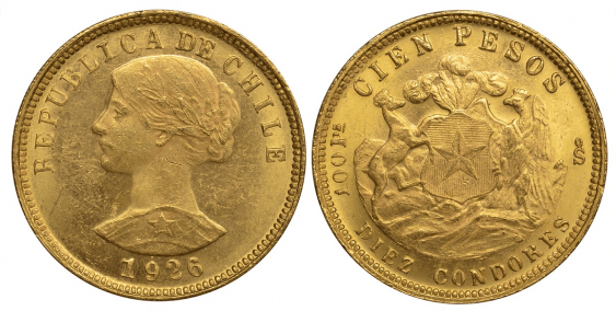 CHILE 100 PESOS 1926 KM 170 gold - photo 1