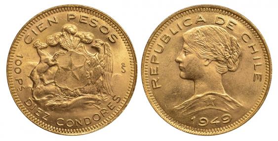 CHILE 100 PESOS 1949 KM 175 gold - photo 1
