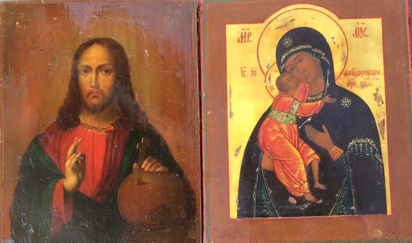 """Icon """"Wedding couple: Almighty and Fedorovskaya mother of God"""". Moscow, 1865 and 1872гг. - photo 2"""