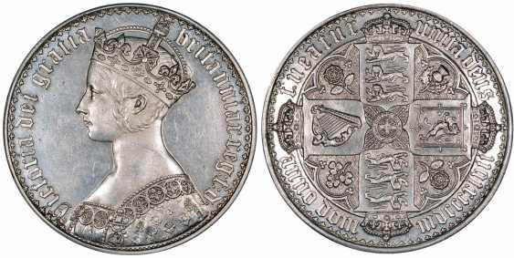 ENGLAND 1 CROWN 1847 GOTHIC, VICTORIA (1837-1901) Spink 3883 silver UNC 10-002-62 - photo 1