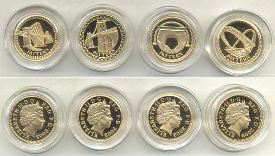 ENGLAND SET of 4 COINS 1 POUND 2003 SAMPLE, 3000 copies gold PROOF 10-004-10 - photo 2