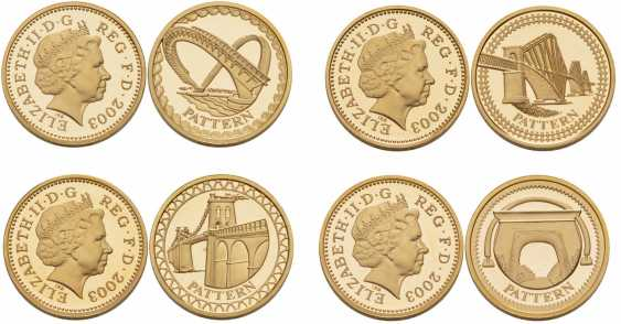 ENGLAND SET of 4 COINS 1 POUND 2003 SAMPLE, 3000 copies gold PROOF 10-004-10 - photo 1