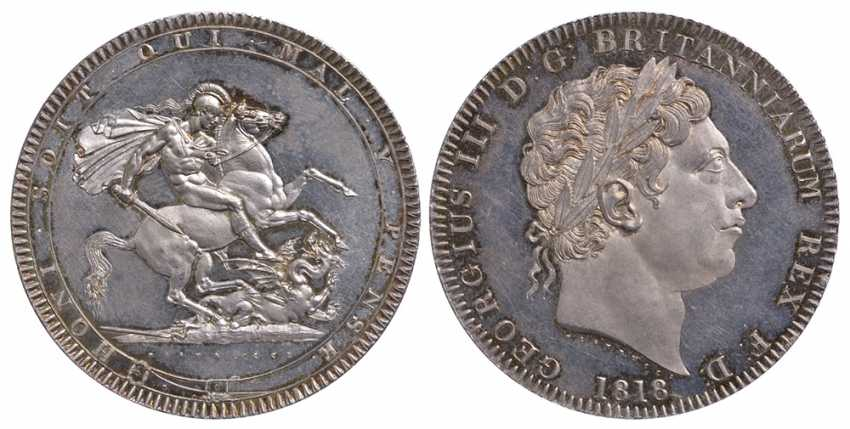 ENGLAND 1 CROWN 1818 GEORGE III LIX KM 675, Spink 3787 silver PROOF 10-002-61 - photo 1