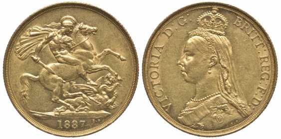 BRITAIN 2 pounds 1887 Victoria KM 768, Spink 3865 gold 10-016-52 - photo 1
