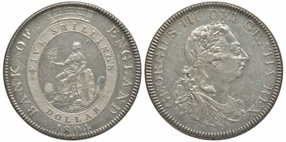 ENGLAND 1 DOLLAR (5 SHILLINGS) 1804 GEORGE III KM Tn1, Spink 3768 silver 10-016-47 - photo 1
