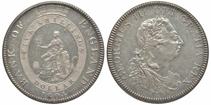 АНГЛИЯ 1 ДОЛЛАР (5 ШИЛЛИНГОВ) 1804 ГЕОРГ III KM Tn1, Spink 3768 серебро 10-016-47 - фото 1